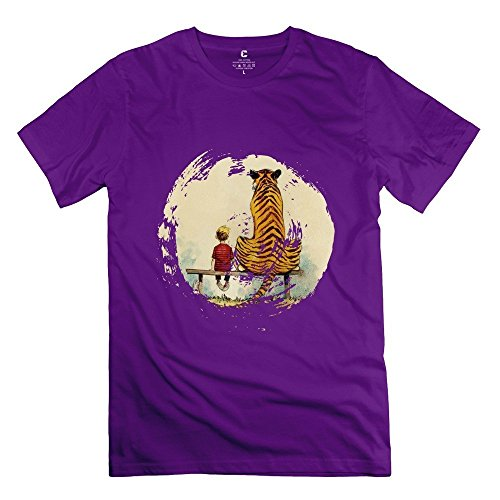 New Arrival Calvin And Hobbes Thomas Tiger Bench Men's Tshirt Purple Size L (Tablet Daewoo compare prices)