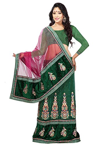 Firstloot Alluring Green Colored Stone Worked Net Velvet Lehenga Saree  available at amazon for Rs.4499