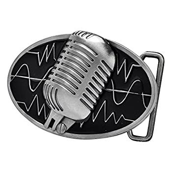 Buckle Rage Adult Unisex Retro Vintage Microphone Sound Wave Belt Buckle