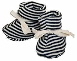 Nature Baby Organic Cotton Drawstring Booties, 3-6 months, Navy Stripe