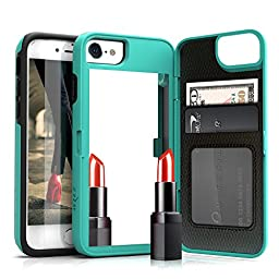 iPhone 7 Case, [Vettore by Zizo] All-in-One Wallet Case with [iPhone 7 Screen Protector] Built-In Mirror and [Kickstand] - iPhone 7