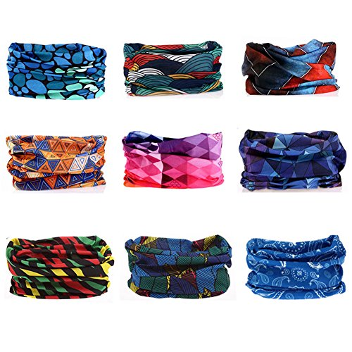 Kalily Oringinal Pack of 9PCS Headband Bandana UV Protection ATV/UTV Seamless Breathable Neck and Head Tube Gaiter