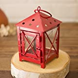 2 Pack-Small Square Metal Hurricane Lantern with Door, Glass Sides, RED