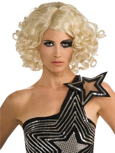 Short Blonde Curly Wig Pop Star Theatre Costumes Accessory Theatrical Production