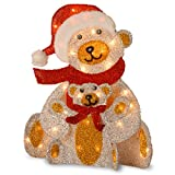 National Tree Fabric Bear with 35 Clear Lights, 24-Inch