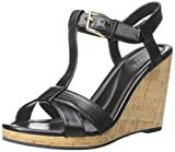 Cole Haan Womens Ayla II Wedge Sandal, Black, 8.5 B US
