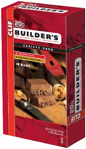 Clif Bar Builder's Bar, Variety Pack, 9 Chocolate and 9 Chocolate Peanut Butter, 2.4-Ounce Bar, Pack of 18 (Cliff Bars Builder Bars compare prices)