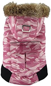 FouFou Dog Canada Fouse Reversible Winter Coat for Dogs, Small, Camo Pink/Pink