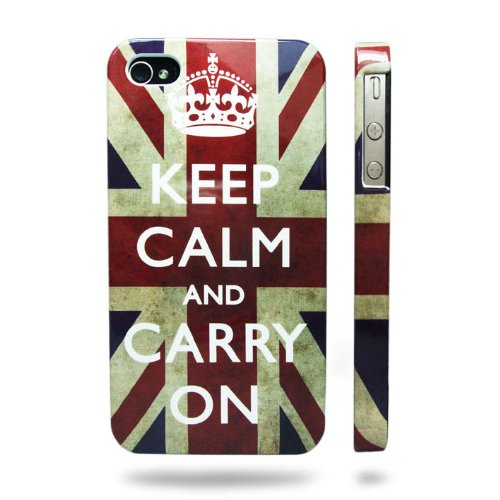 Keep Calm and Carry On Union Jack Flag Iphone 4 & 4S Case | Superior Quality cover | Hard Shell with UV Coating