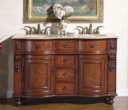 "55"" Bathroom Furniture Travertine Top Double Sink Vanity Cabinet 192T"