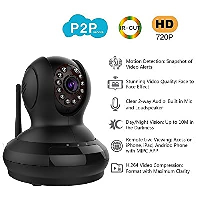 Wantsee Wireless Wifi Ip/network Video Monitoring 720p Hd Plug/play Surveillance Home Security Camera Pan/tilt Two-way Audio Night Vision for Home Ws-007b(black)