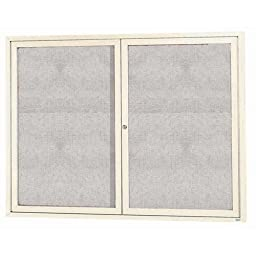 Aarco Products ODCC4860RIV 2-Door Outdoor Enclosed Bulletin Board - Ivory
