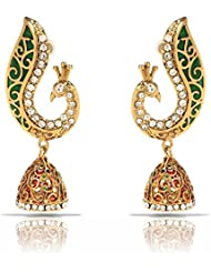 Traditional Ethnic Green Peacock Gold Plated Jhumki Dangler Earrings With Crystals For Women By Donna ER30103G