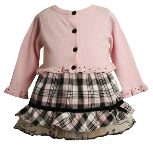 Pink Black Ruffle Hem Plaid Skirt / Sweater Set Pk1Tf,Bonnie Jean Baby-Infant Special Occasion Flower Girl Party Dress front-972399