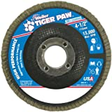 "Weiler 51108 Tiger Paw High Performance Abrasive Flap Disc, Type 27 Flat Style, Phenolic Backing, Zirconia Alumina, 4-1/2"" Diameter, 7/8"" Arbor, 40 Grit, 13000 RPM (Pack of 10)"