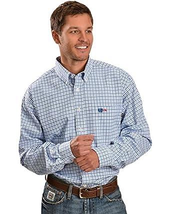 Cinch Men 39 S Flame Resistant Blue Plaid Work Shirt At