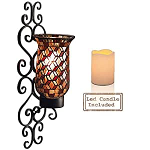 Amazon.com: Black Metal and Mosaic Glass Wall Sconce Candle Holder With LED Candle, Decorative ...