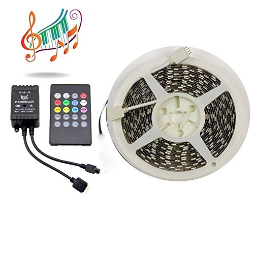 Binzet 16.4Ft 300Leds Non-Waterproof 5050 Rgb Music Led Strip Kit + 20Keys Ir Music Controller Sound Activated Multi-Color Led Strip Light Kit (Power Supply Not Included)
