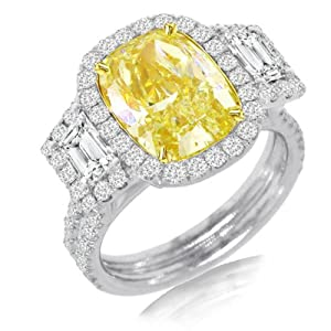6.76ct 18k Two-tone Gold EGL Certified Cushion Cut Natural Fancy Yellow Diamond Ring