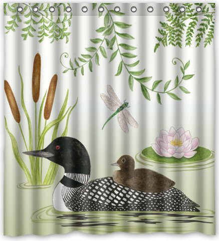 Loon Lake Beautiful Design Waterproof Fabric Polyester Bathroom Shower Curtain 66