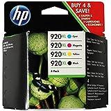 4 x Original Druckerpatronen HP 920XL - 1x CD975AE schwarz, 1x CD972AE cyan, 1x CD973AE magenta, 1x CD974AE gelb