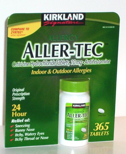 Kirkland Signature Aller-Tec Cetirizine HCL 10 mg/Antihistamine- Compare to Zyrtec-365-tablets