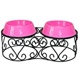 Platinum Pets Deluxe Scroll Double Diner Stand with Two Bubblegum Pink Bowls, 4 Cups