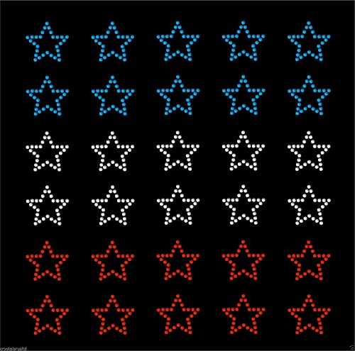 30 USA Colour Stars Iron On Rhinestone Transfer Crystal Hotflix t-shirt applique (Rhinestone Applique Iron On compare prices)