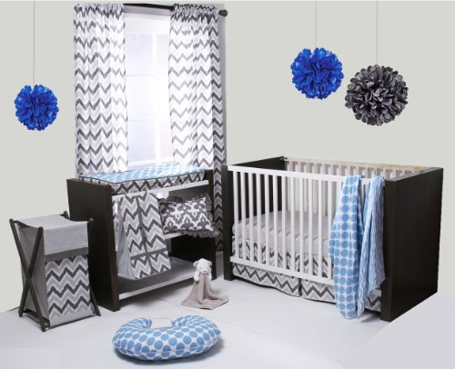 Ikat Blue/Grey 6 Crib Set with 4 Muslin Blankets - 1