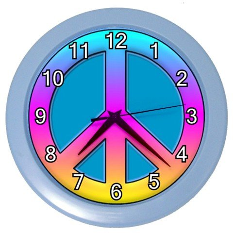 Colorful Peace Sign Design Plastic 10 inch Wall Clock 20565917