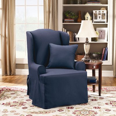 Sure Fit Twill Supreme Wing Chair Slipcover, Sapphire front-968314