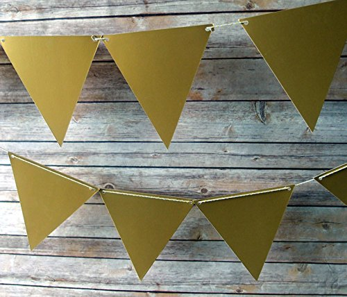 Quasimoon Gold Large Triangle Pennant Banner by PaperLanternStore - 1