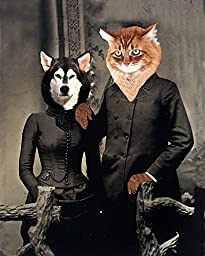 Victorian UNLIKELY LOVERS Siberian Husky Dog and Tabby Cat couple romance altered anthro art print