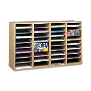 Safco Products Wood Adjustable Literature Organizer, 36 Compartment, Medium Oak, 9424MO