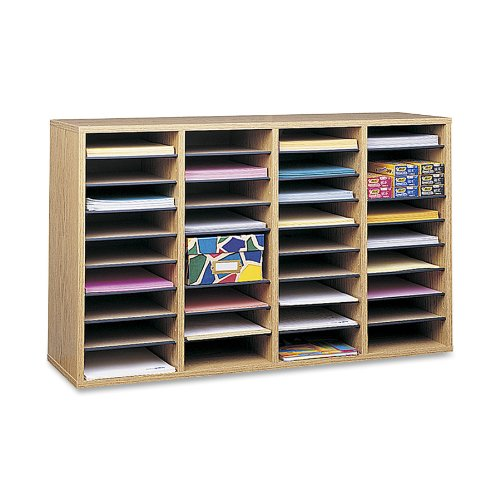 Safco Products Wood Adjustable Literature Organizer, 36 Compartment, Oak (9424MO)
