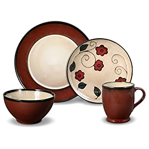 Gourmet Basics by Mikasa Belmont Round Red Leaves 64 Piece Dinnerware Set, Service for 4|16|Dinnerware > Sets > Dinnerware Service for 12|8 - Red|Tan