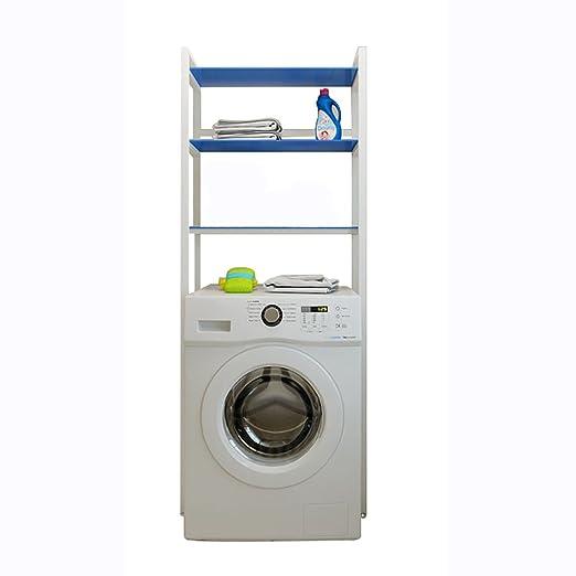 XRXY Staffa della lavatrice dell'acciaio inossidabile / rack moderni della toilette / scaffale di stoccaggio del pavimento del balcone del bagno ( Colore : Blu )