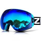 ZIONOR Lagopus X7 Ski Snowboard Goggles with Quick Lens-changing UV400 Protection Anti-fog Wide Spherical PC Lens Anti-slip Strap Helmet Compatible, Adult Ski Snowboarding Skating Goggles