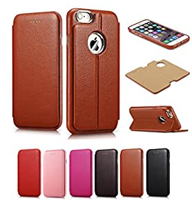 iPhone 6s/6 Plus Case, PERSTAR [2 in 1 Style] [Detachable Back] Folio Flip Cover Case [Wristlet Strap], Genuine Leather Case [Card Slot] for iPhone 6s/6 Plus 5.5 Inch (Brown)