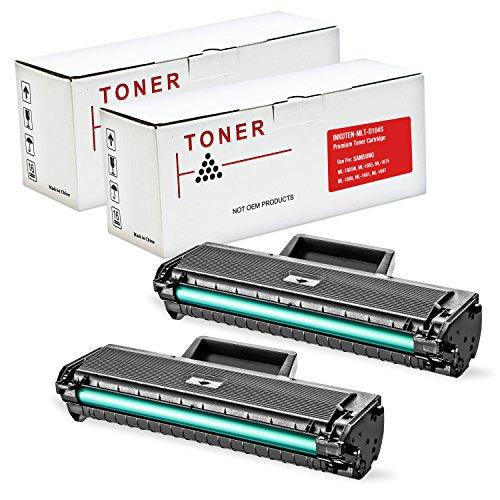 INKUTEN © 2 Pack Compatible Samsung MLT-D104S MLTD104S Black Laser Toner Cartridge for Samsung ML-1865W, ML-1665, ML-1675, ML-1666, ML-1661, ML-1667 Printers
