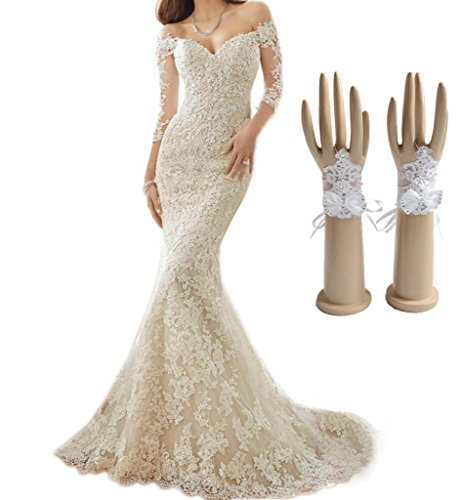 Engerla Women's Long Sleeves Sweetheart Off-Shoulder Mermaid Lace Applique Wedding Dress US12