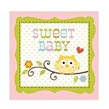 Creative Converting Happi Tree Sweet Baby Girl Beverage Napkins, 16 Count