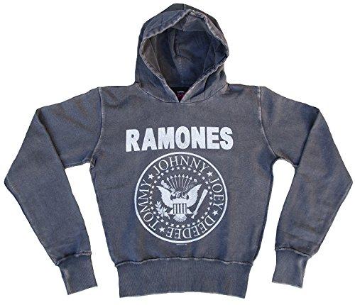 Amplified Donna Felpa con cappuccio Sweater grigio Official The Ramones Rock Star Vintage Grau S