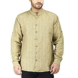 PRAKUM Men's Cotton Slim Fit Shirt (MD-276, Yellow, S )