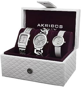 Akribos XXIV Women's AK688SS Diamond Accented Silver-Tone 3 Watch Box Set