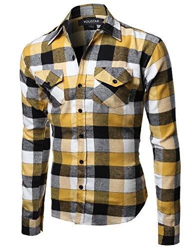 Flannel Plaid Checkerd Long Sleeve TShirts Yellow Black Size