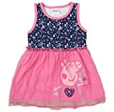 Peppa pig embroidery cotton party evening dress for kids,fuchsia,5y thumbnail
