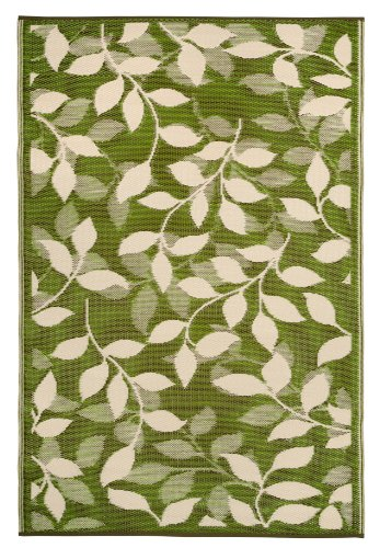 Fab Habitat 4-Feet by 6-Feet Bali Indoor/Outdoor Rug, Forest Green and Cream