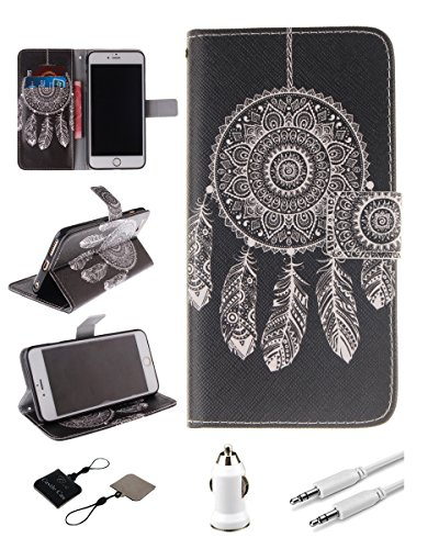 iPhone 5/5S Case - Castle Cas Black Campanula PU Leather Flip Wallet Protective Magnetic Closure TPU Cover with Mobile Phone Cleaner, Car Charger, AUX Audio Cable (Black) (Pretty Iphone 5s Cas compare prices)