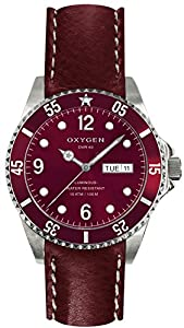 OXYGEN Grape 40 unisex quartz Watch with red Dial analogue Display and red leather Strap EX-D-GRA-40-CL-PL